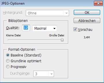 Screenshot Dialog JPEG Komprimierung